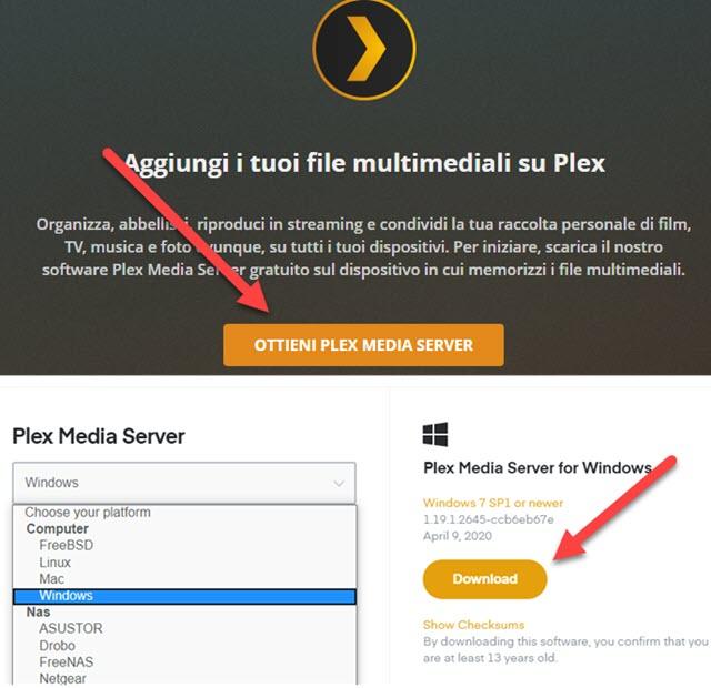 come installare il plex media server