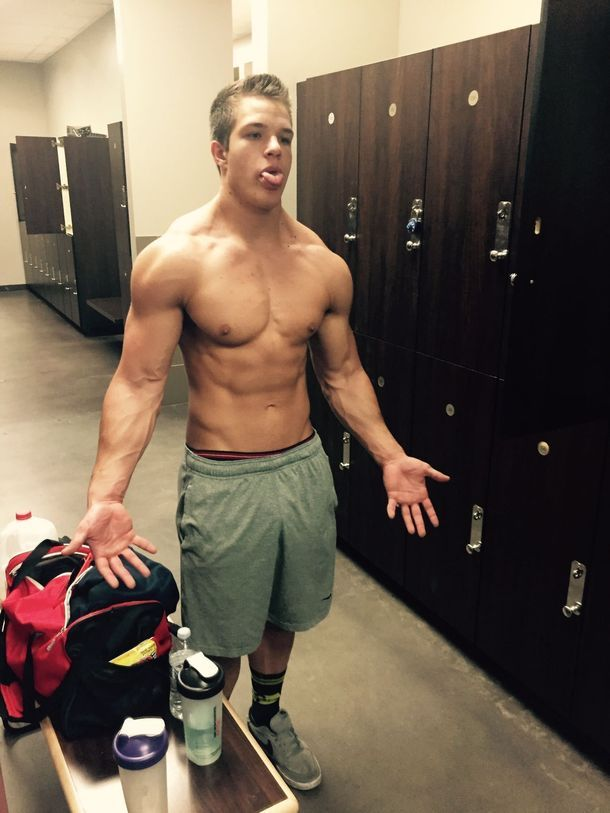 sexy-young-shirtless-fit-jock-fooling-around-tongue-out-bro-strong-arms-body