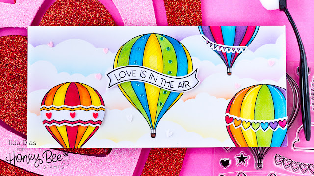 Love Is In the Air Slimline Valentine's Day Card | Honey Bee Stamps