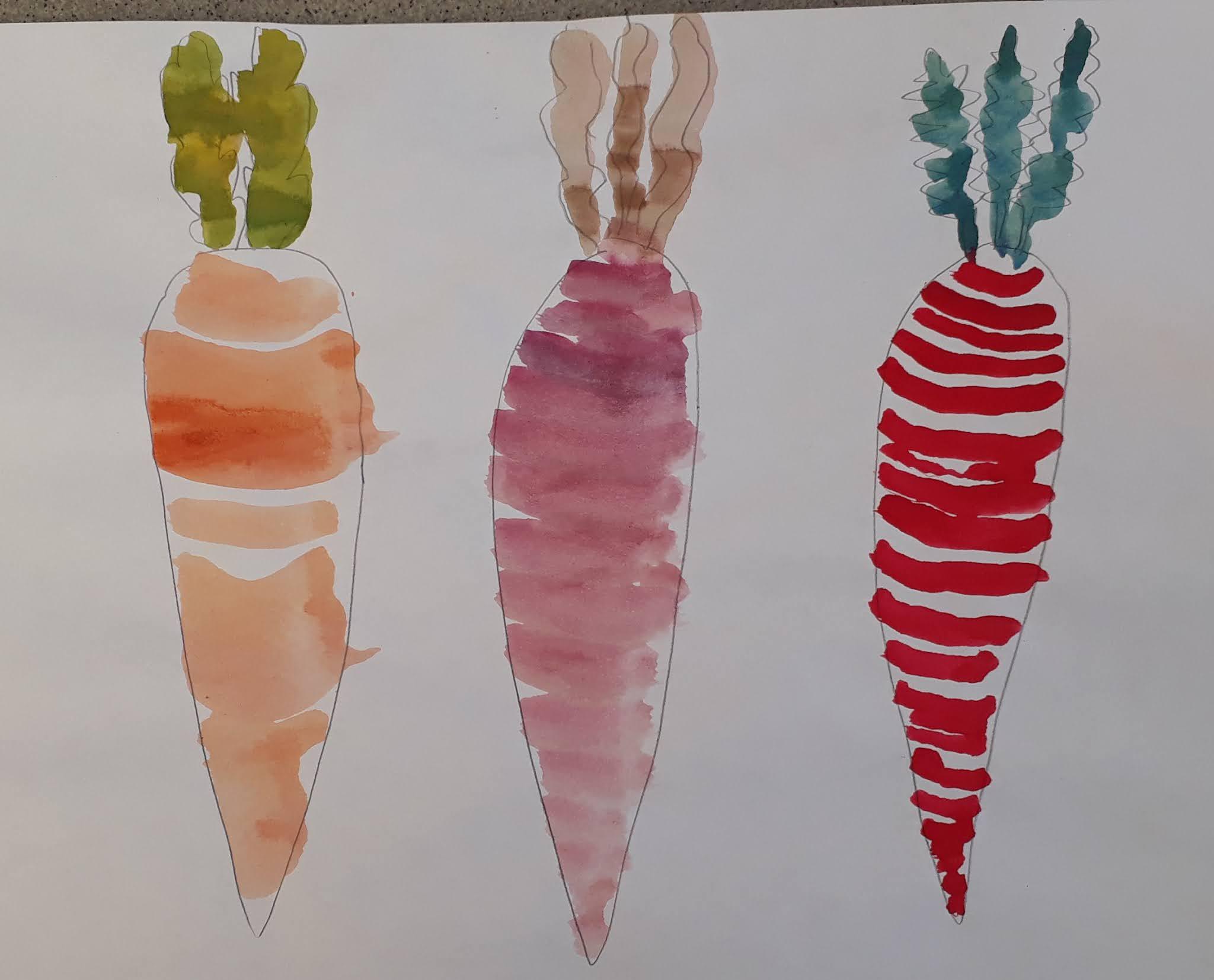 Porkkanat vesiväreillä ja lyijykynällä