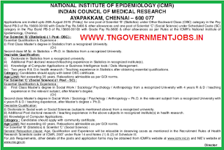 National Institute of Epidemiology - ICMR Chennai Recruitment of Scientist (Statistics) and Scientist (Social Science) Posts