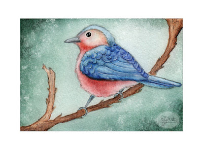 Blue Bird Derwent Inktense Watercolor Pencil Illustration By Tawnya Boe