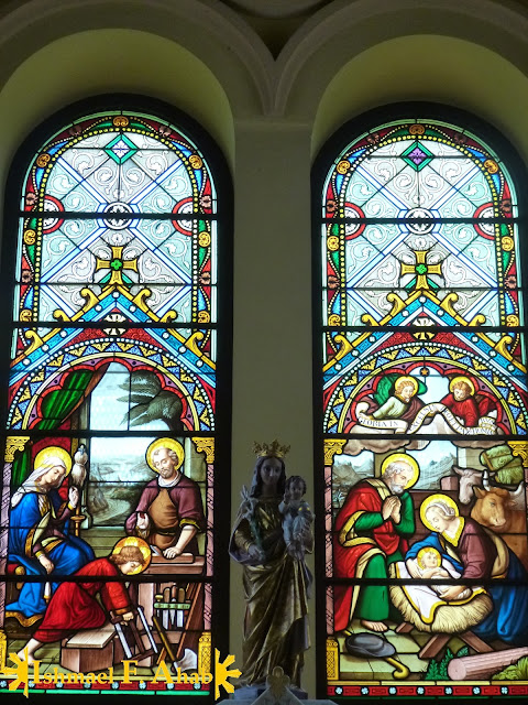 Stained glass windows of St. Joseph Church, Ayutthaya Historical Park