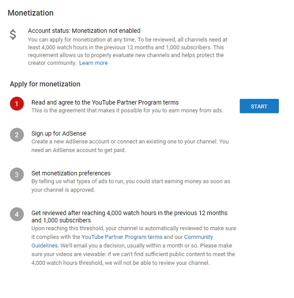 Step 6: Apply For Monetization
