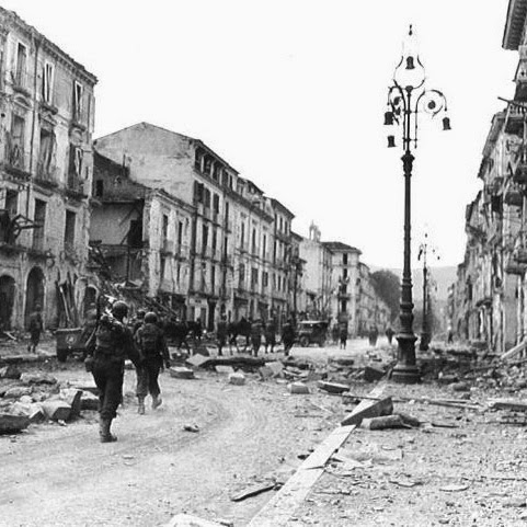 The bombed streets of Avellino, World War II
