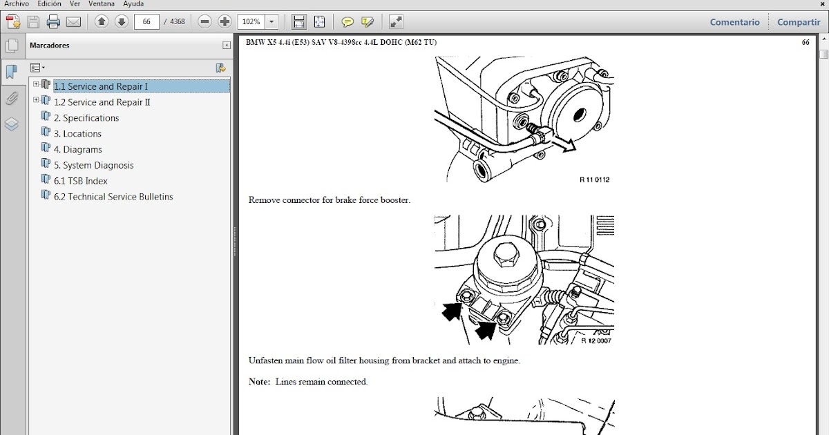 Manuales De Taller De Bmw  Bmw X5 4 4i Chassis E53 Motor