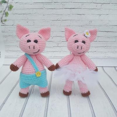 Вязаные свинки амигуруми