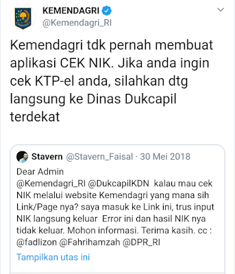 twitter kemendagri terkait aplikasi cek NIK KTP