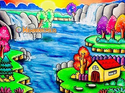 gambar pemandangan alam mewarnai dengan crayon
