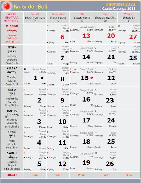 kalender bali februari 2022 - kanalmu