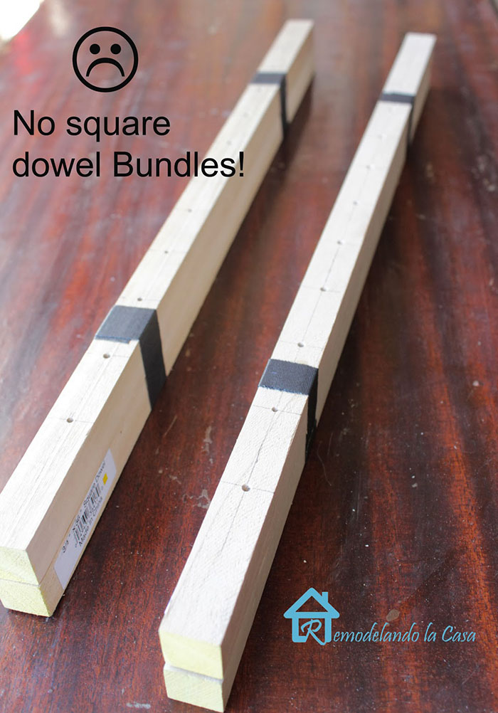 how to set holes on dowels