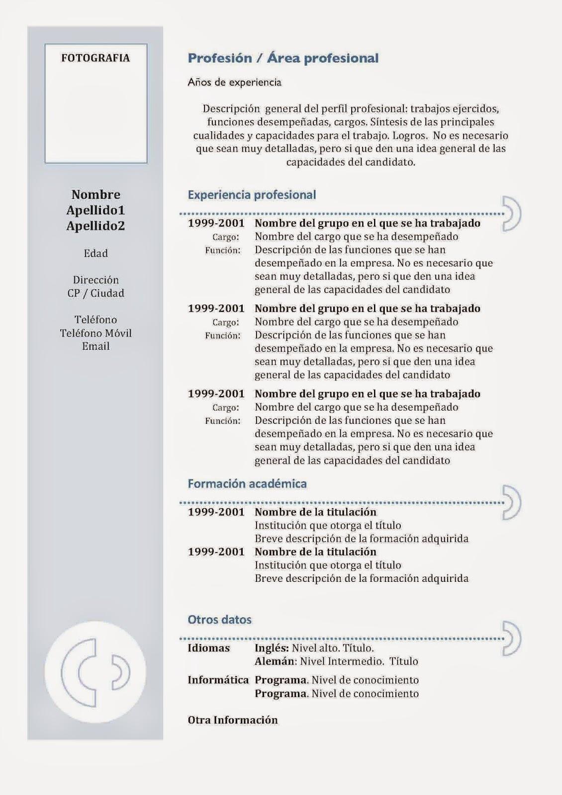 modello curriculum anticronologico da
