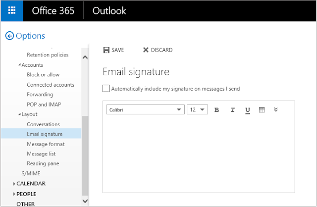 add signature in outlook office 365