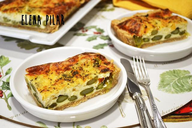 Crostata de espárragos verdes y queso mascarpone (integral)