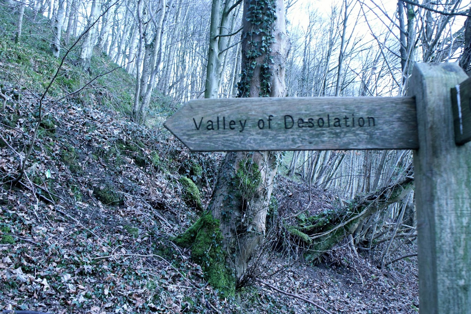 A sign pointing towards the Valley of Desolation