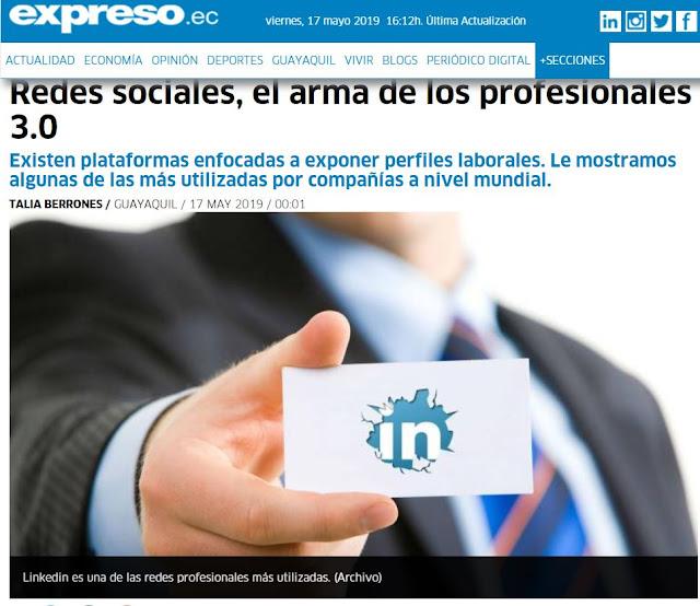 """Articulo de prensa de Diario Expreso: """"Redes sociales, el arma de los profesionales 3.0"""""""