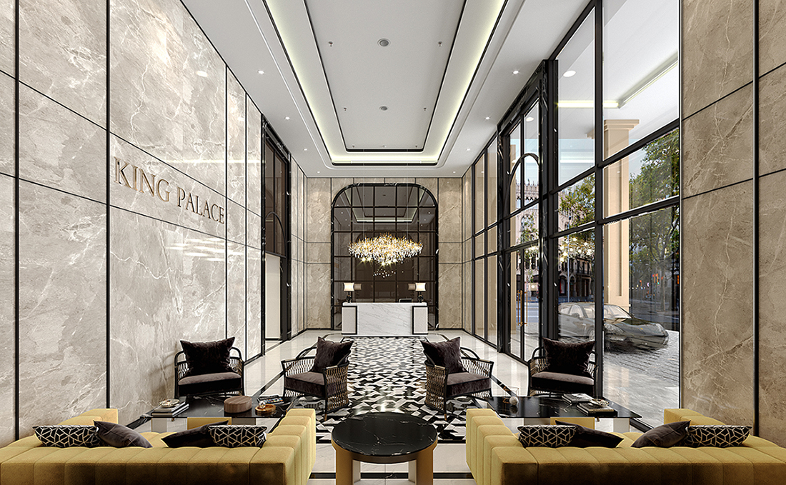 Sảnh Lobby được thiết kế mang phong cách sang trọng, tinh tế