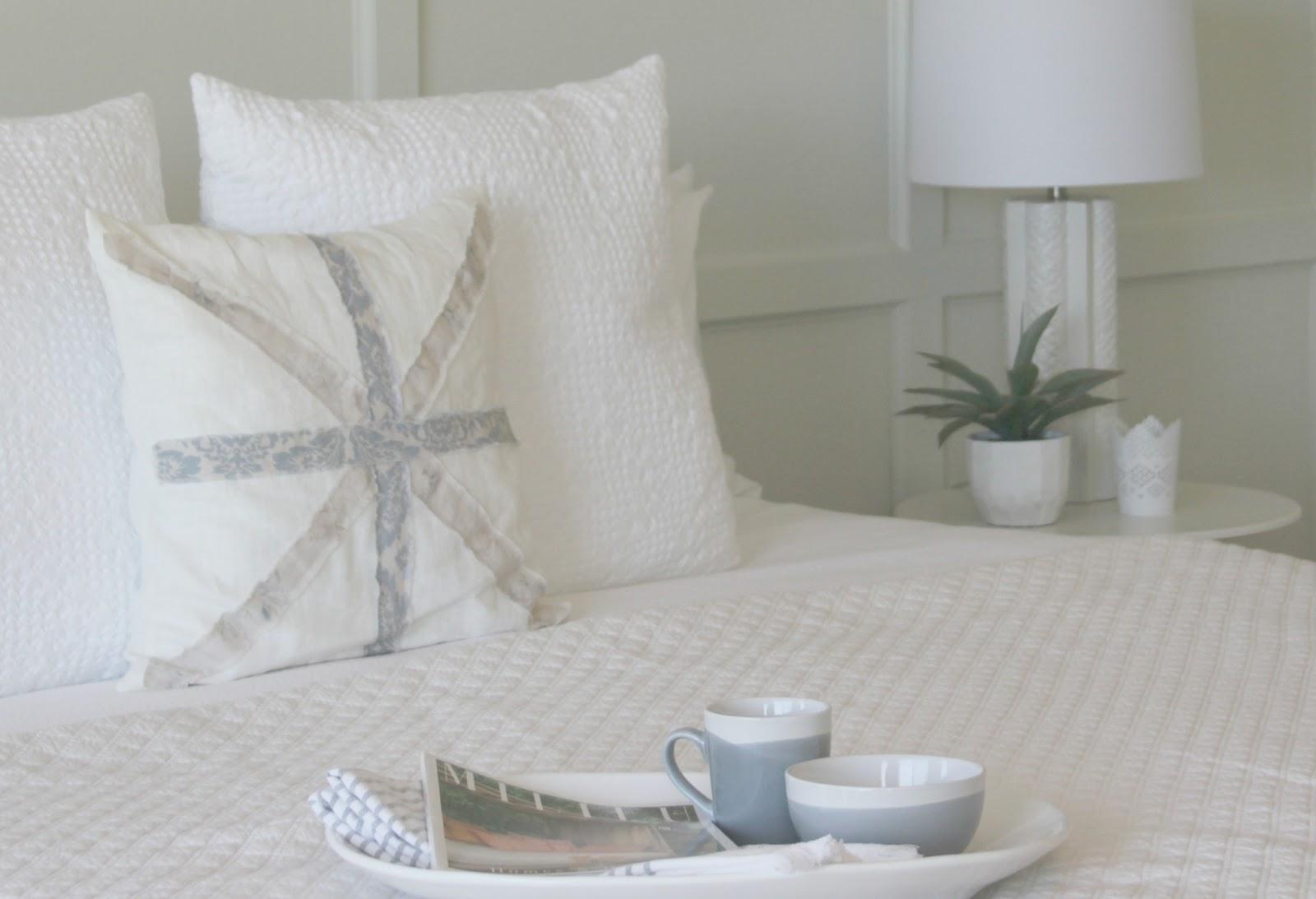 DIY bedroom decor makeover with serene, European inspired modern farmhouse style by Hello Lovely Studio
