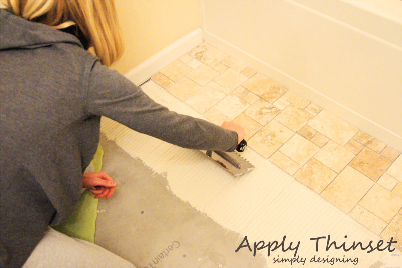 Installing Tile : Apply Thinset | a complete tutorial for how to demo, prep, install concrete backer board and install tile | #diy #bathroom #tile #thetileshop @thetileshop