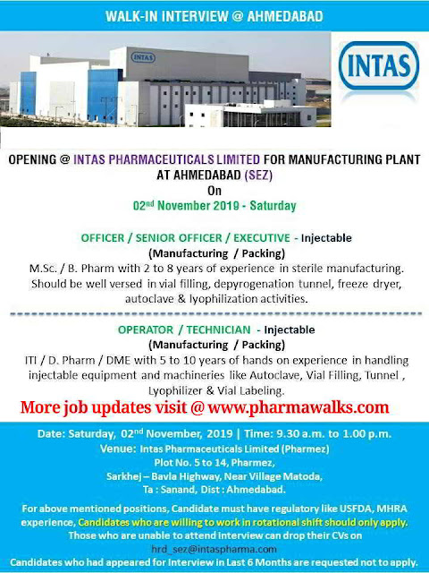 Intas Pharmaceuticals - Walk-in interview for Multiple positions on 2nd November, 2019