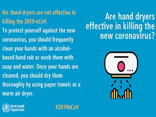 Corona virus dies from hand dryers