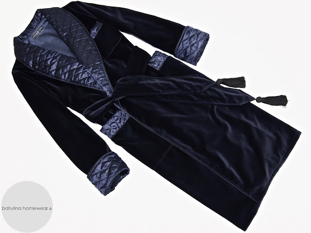 mens blue velvet robe quilted silk dressing gown smoking jacket warm thick heavy lined full length