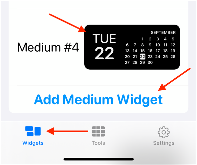 إنشاء عنصر واجهة مستخدم جديد في Widgetsmith