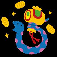 打ち出の小槌を振る蛇のイラスト(巳年)