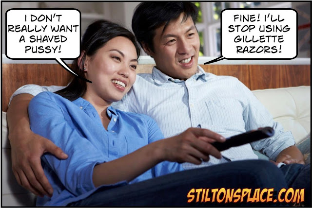 stilton's place, stilton, political, humor, conservative, cartoons, jokes, hope n' change, gillette, razors, toxic masculinity, ad, shaved pussy