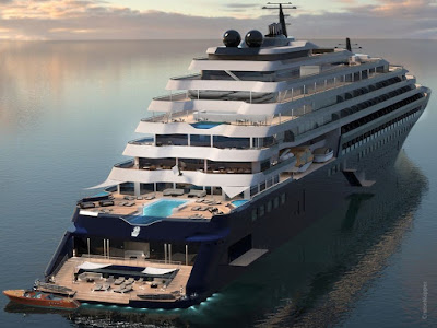 Artists Rendering of the Ritz Carlton's Evrima - Constructed halted at Spain's Barreras Shipyard = Ritz Carlton Bail out of Barreras