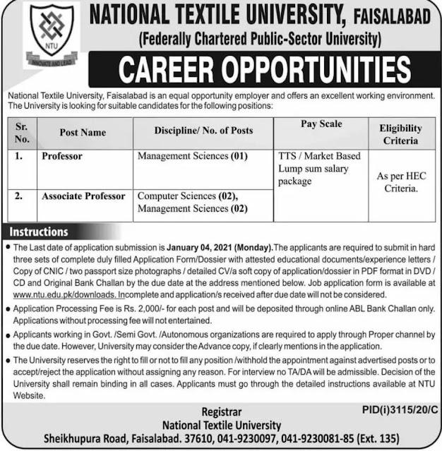 National Textile University Jobs in Faisalabad