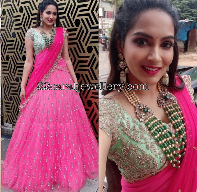 Himaja in Designer Half Saree