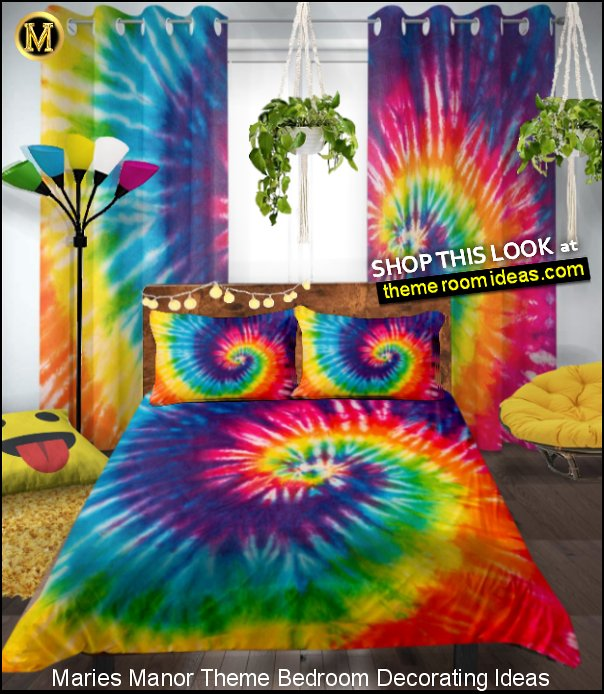Tie Dye Window Blackout Curtains Tie Dye bedding   Macrame Plant Hangers smiley face decor Papasan Chair