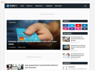 TOPIFY-Template Blog Profesional, Fast Loading, SEO Dan Responsive Dari Templateify