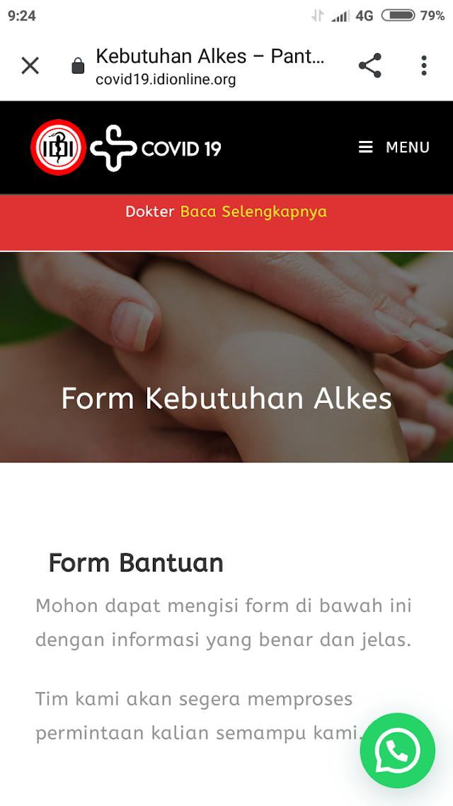 *Corona Menggila, APD tak ada ?*    Bantu kami memastikan ketersediaan APD dan Alkes di seluruh Indonesia. Ajukan kebutuhan faskes Anda melalui link berikut :
