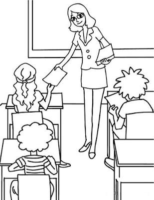 Hình tô màu cô giáo trong lớp học