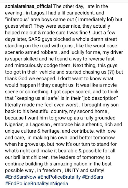 IK Ogbonna's ex-wife, Sonia narrates scary experience with SARS officers in Lagos