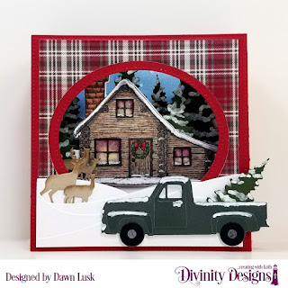 Stamp/Die Duo: Home For Christmas  Custom Dies: Diorama with Layers, Curvy Slopes, Pickup Truck, Trees & Deer Paper Collection: Rustic Christmas