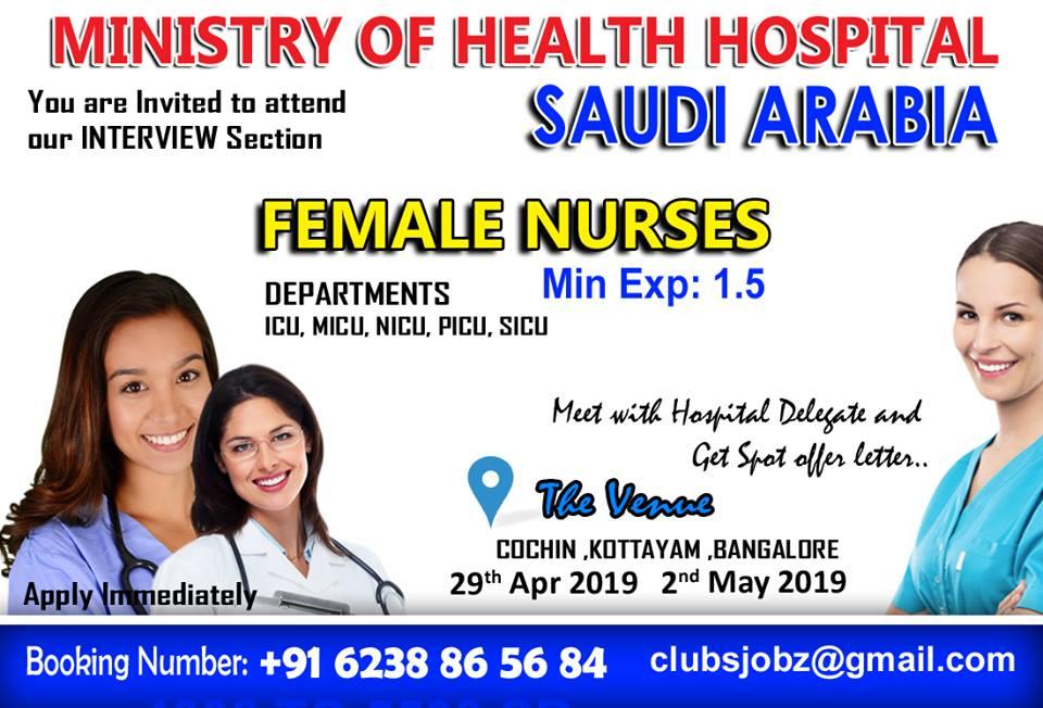Staff Nurse Vacancy Recruitment For MOH Hospital Saudi