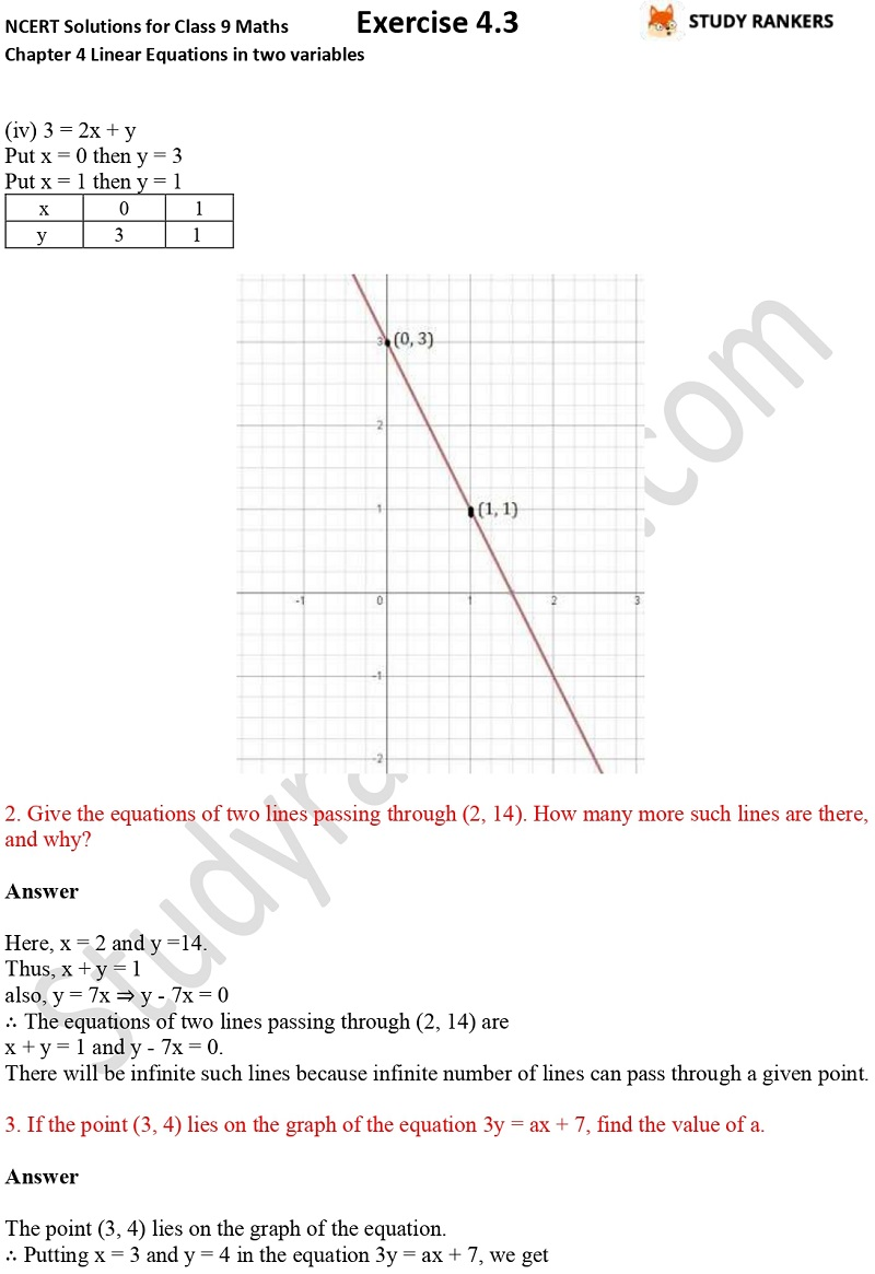 NCERT Solutions for Class 9 Maths Chapter 4 Linear Equations in Two Variables Exercise 4.3 Part 3