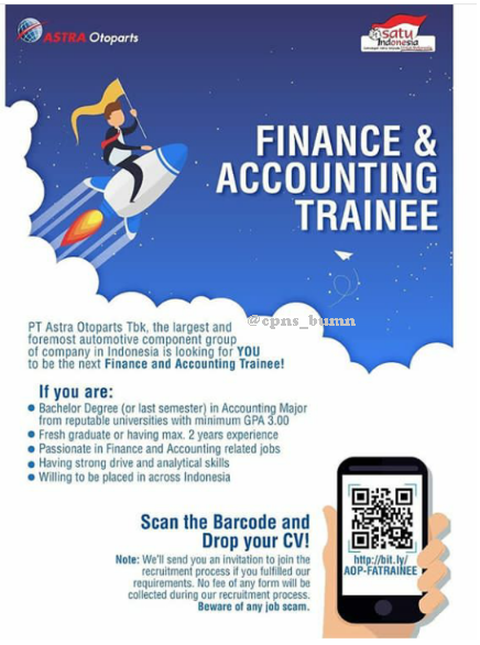 Lowongan Kerja Finance and Accounting Trainee PT Astra Otoparts Tbk Juli 2019