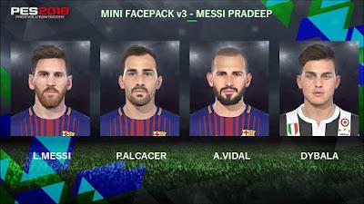 PES 2018 Mini Facepack v3 by Messi Pradeep