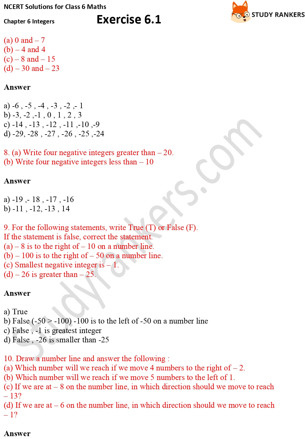 NCERT Solutions for Class 6 Maths Chapter 6 Integers Exercise 6.1 Part 5