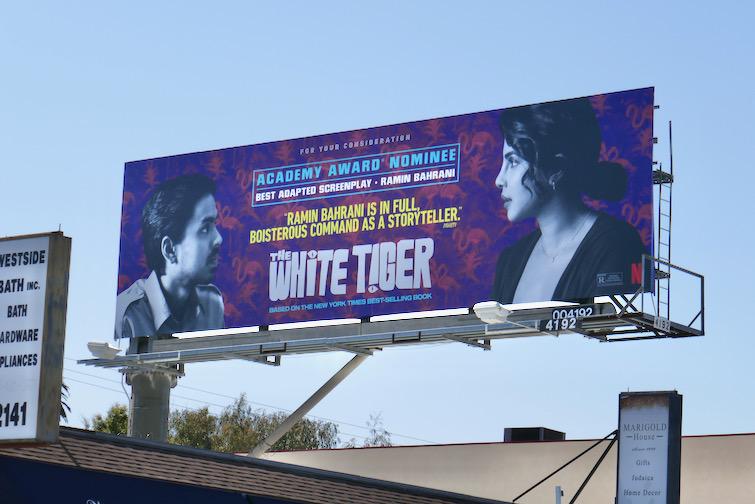 White Tiger Oscar nominee billboard