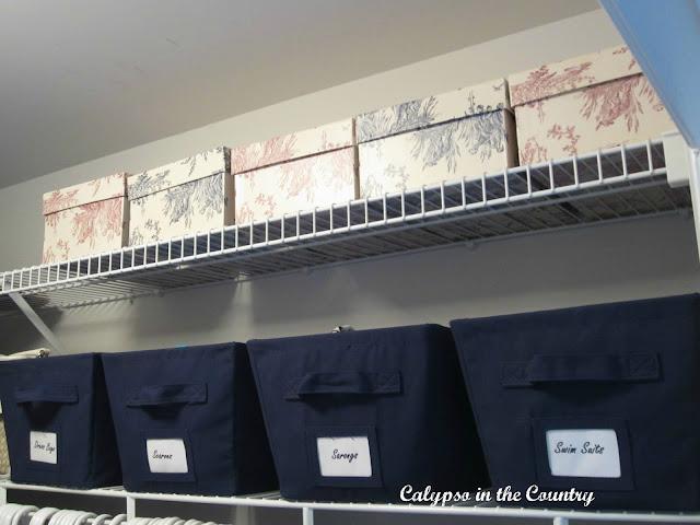 Storage Bins in Master Closet