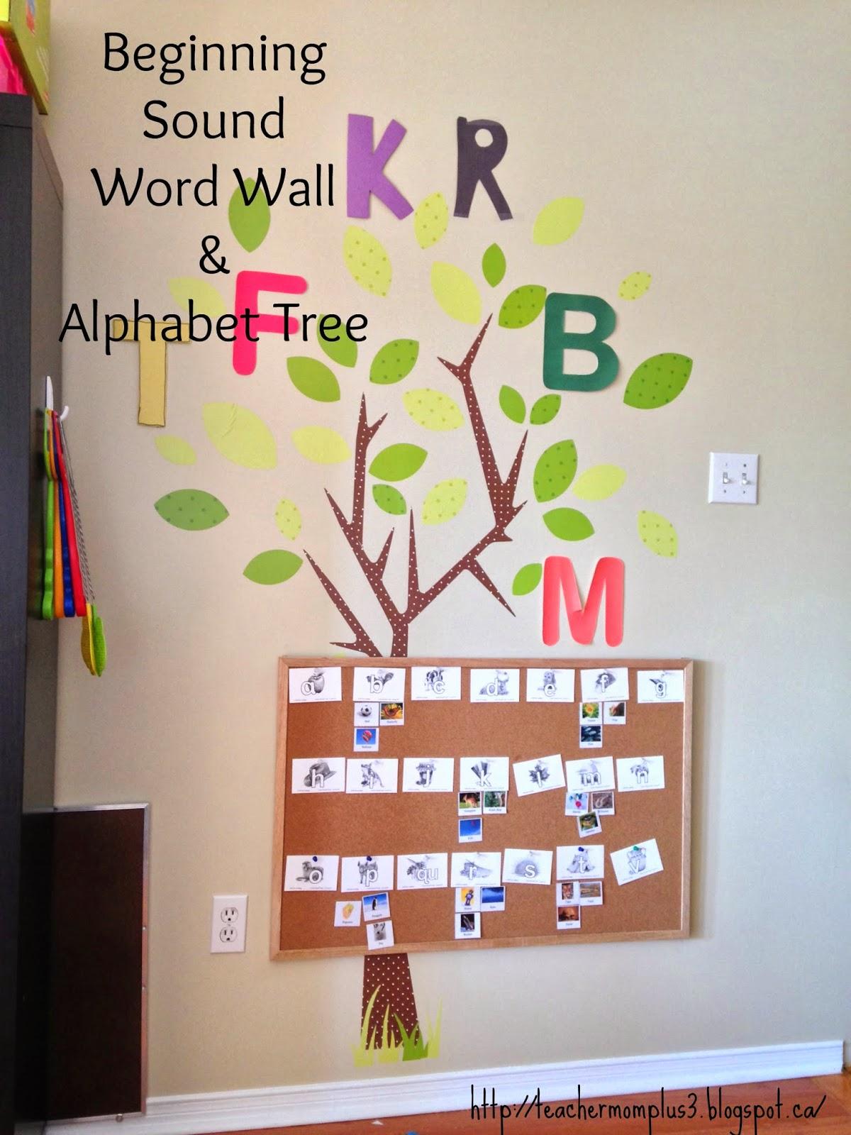 Teachermomplus3 Beginning Sound Word Wall Alphabet Tree
