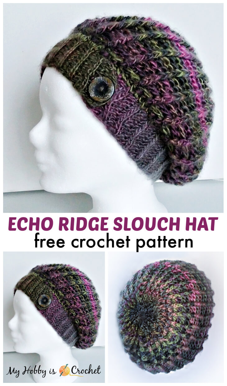crochet ribbed slouch hat, echo ridge slouch