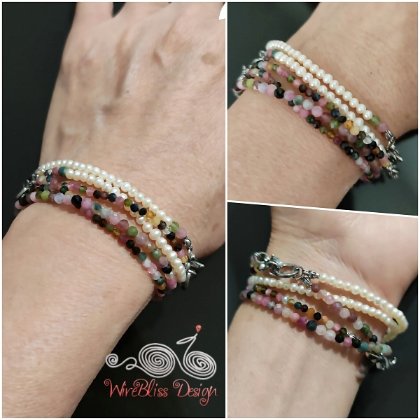 Tourmaline and Pearl Face Mask, Eyeglasses Straps as Layered Bracelet