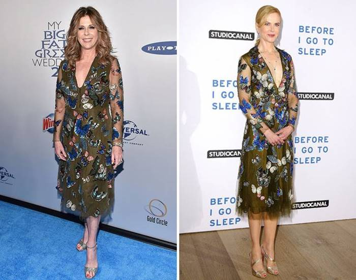 Actress and wife of Tom Hanks Rita Wilson and her colleague Nicole Kidman on the workshop see the outfit from Valentino quite similar - both stars wore gold sandals to him. However, Nicole still decided , that accessories are not enough , and added to a colored dress low-key delicate necklace.