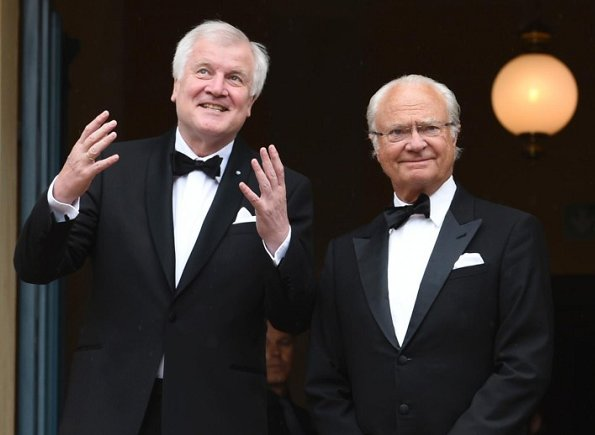 Queen Silvia and King Carl Gustaf,Brigitte Merk-Erbe and Thomas Erbe, Bavarian Minister-President Horst Seehofer and Karin at Bayreuth Festspielhaus